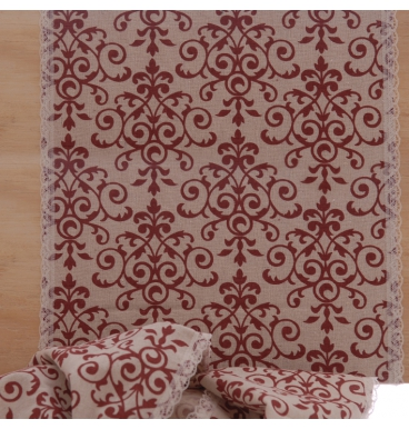Hemp runner with red lace print