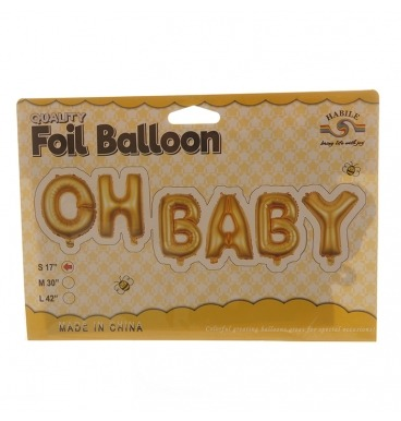 Gold foil balloon that spells out Oh Baby