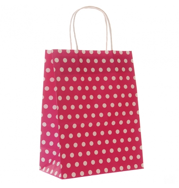 Dotted red paper bag with handles