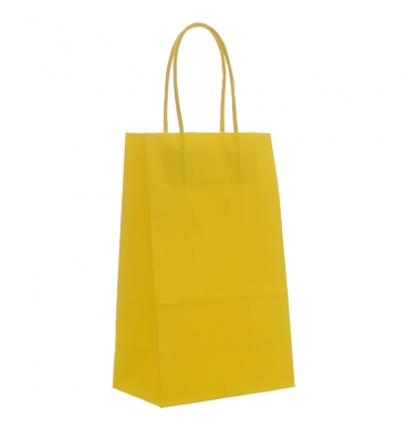 Yellow plain footed paper bags with handles