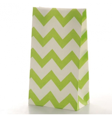 Green chevron footed paper bag