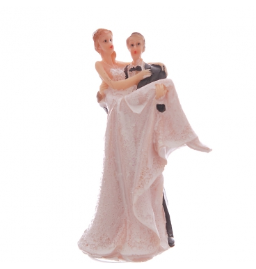 Couple cake topper with the woman being carried