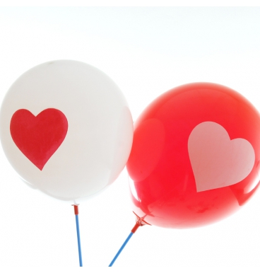 Red and white heart print balloon
