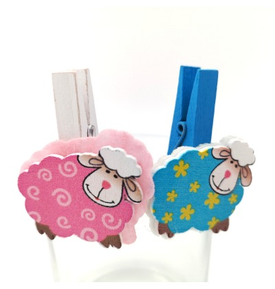 Pink and blue sheep pegs