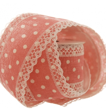 Dotted cotton ribbon lace