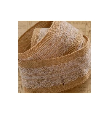 Hessian with centre white lace