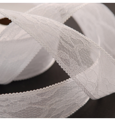 White sheer lace ribbon