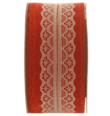 Ribbons red lace hemp roll