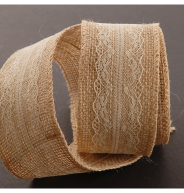 Brown hessian and lace ribbon