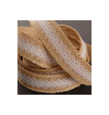 Lace and hessian ribbon with centre white