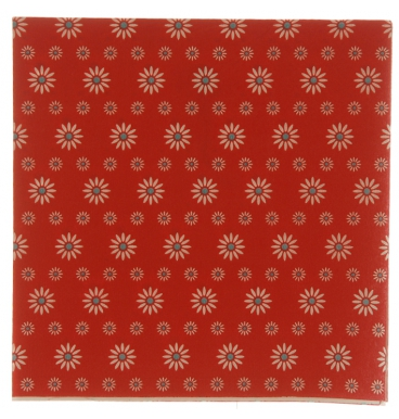 Red with blue centered dots flowers paper napkins