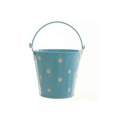 Dotted light blue bucket small