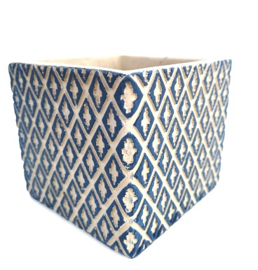 Blue square pattern pot