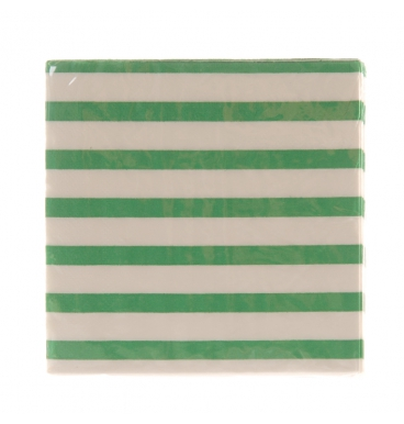 Green horizontal striped cocktail paper serviettes 2 ply