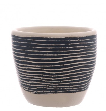 Black striped pot