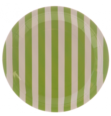 Green striped paper plate