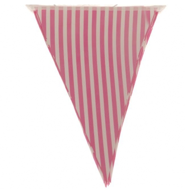 Striped pink party paper bunting