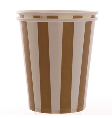 Brown striped party paper cups