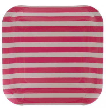 Pink striped party paper plate