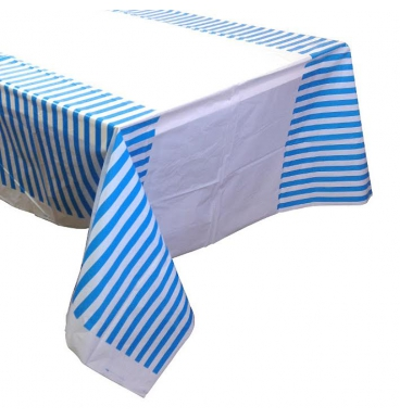 Blue striped table cloth