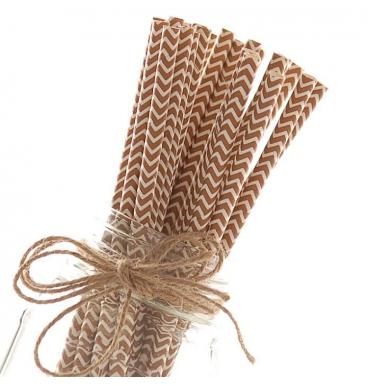Brown chevron paper straws