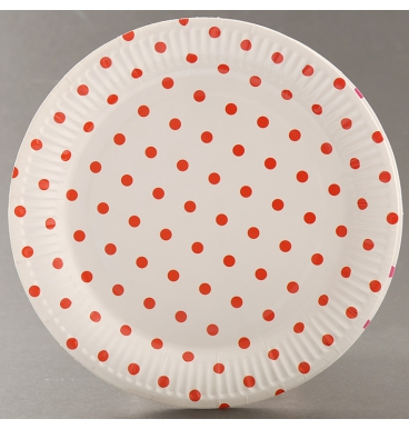 Red dotted white paper plate