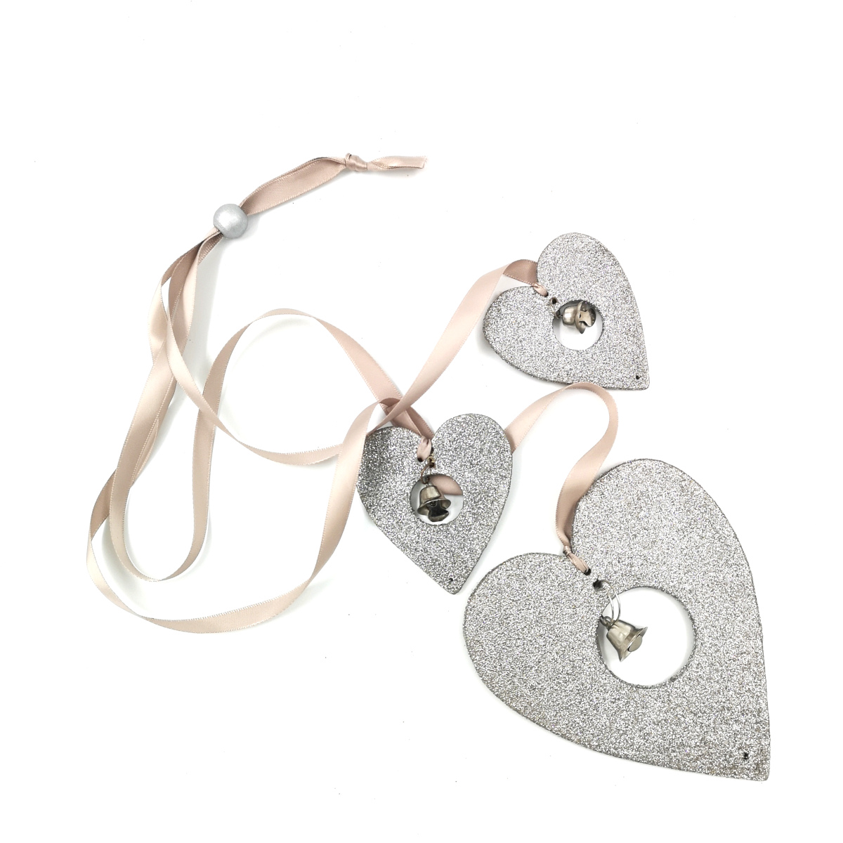Silver heart string with pink ribbon