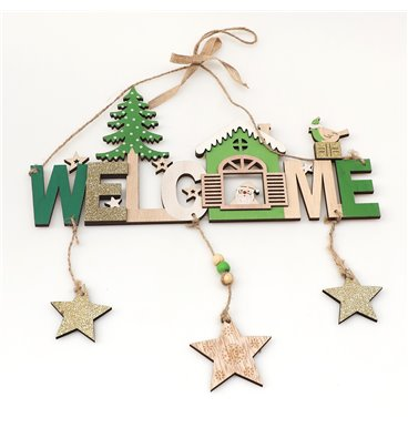 Christmas welcome sign with wooden stars hanging from it