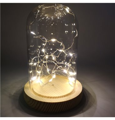 Special Events glass dome with wooden base and warm lights