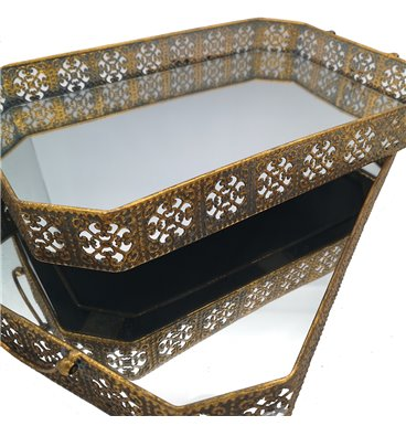 Trays with mirrors and golden rim