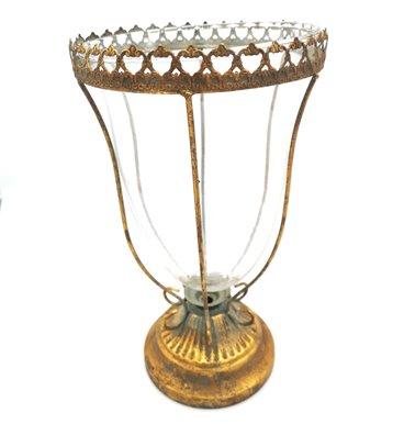 Glass vase with gold holder