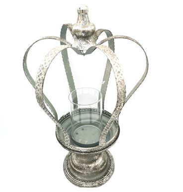 Crown candle holder with silver colour