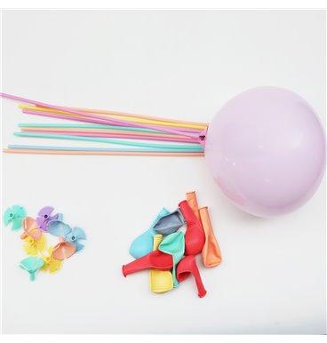 Balloons and balloon sticks pastel