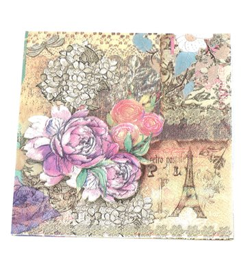 Floral and Eiffel tower history serviettes